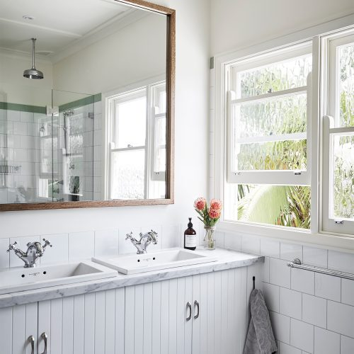 A beautiful ensuite in a Sydney beachside home, designed by Vellum Interiors