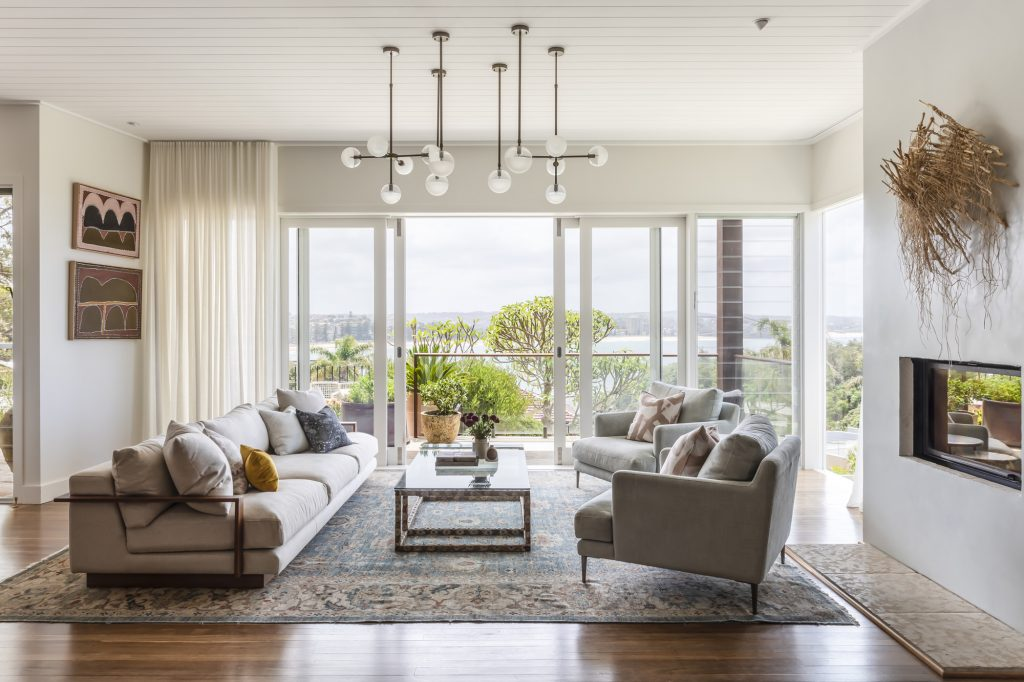 A living room overlooking the ocean in Sydney