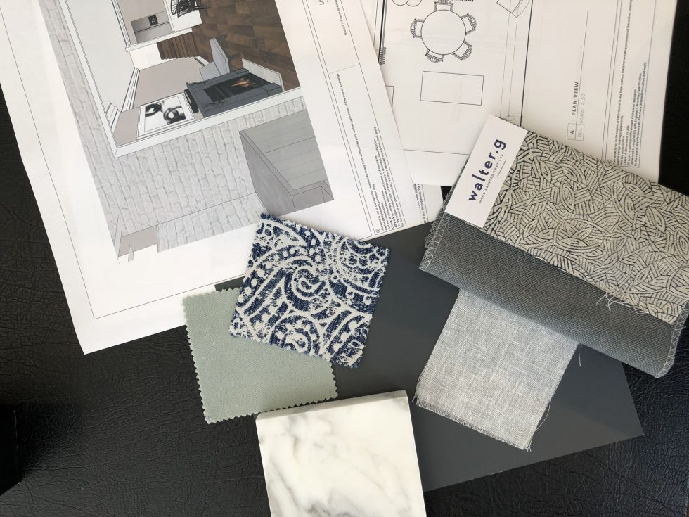 An interior design drawings package with fabric and stone samples
