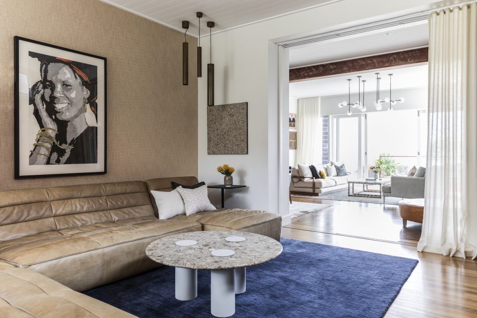 Interior design project in Manly showing the lounge room with neutral textures