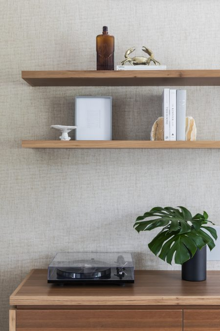 Custom joinery and shelving in Tallow wood with styling and accessories
