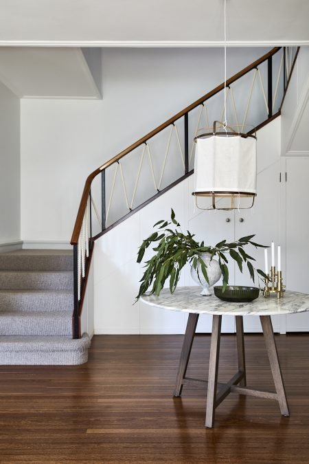 The foyer of a mid century house on Sydney's Lower North Shore designed and decorated by Alex Gourlay of Vellum Interiors