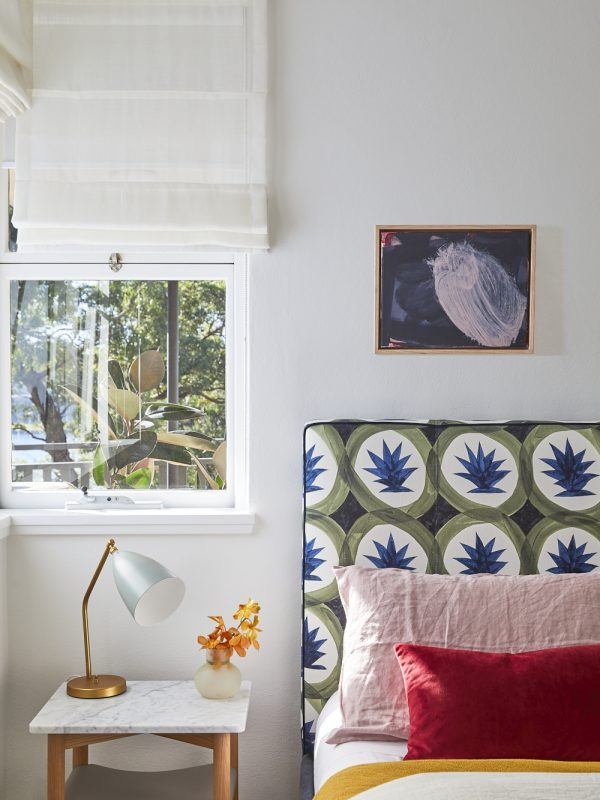 The guest bedroom in a century house on Sydney's Lower North Shore with harbour views. Featuring items from Gubi, Jardan and Hermes