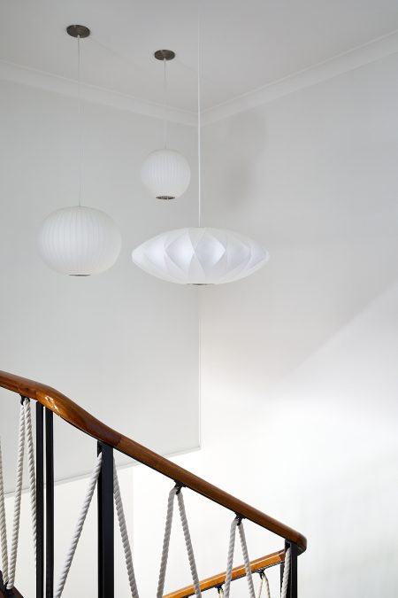 Original mid-century staircase and lighting by George Nelson
