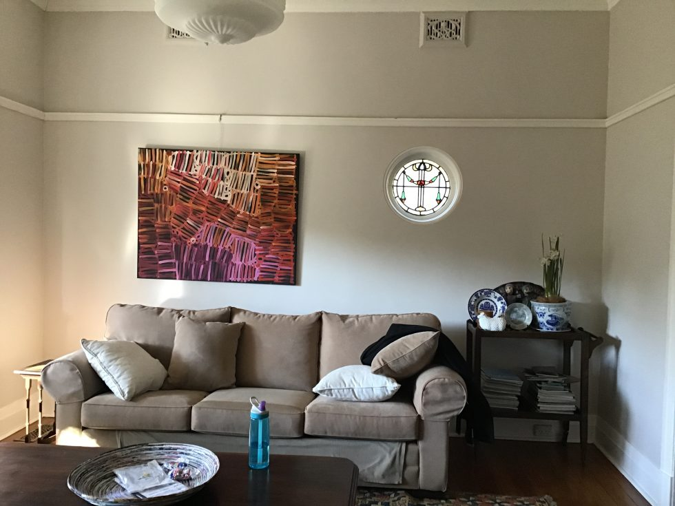 Before and After Interior Design Project. Lead light circle window